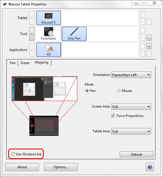 Wacom Tablet Properties dialog with relevant options highlighted